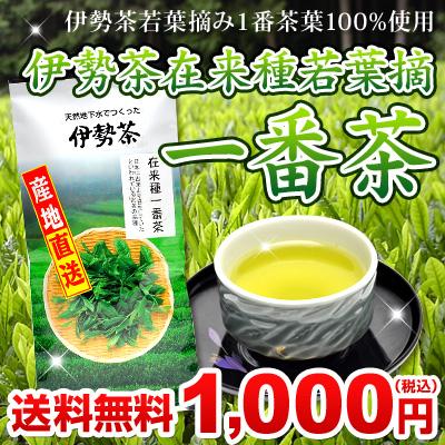 伊勢茶在来種若葉摘一番茶100g送料無料