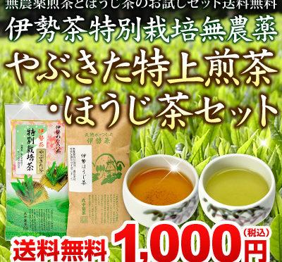 新発売★無農薬煎茶ほうじ茶セット送料無料